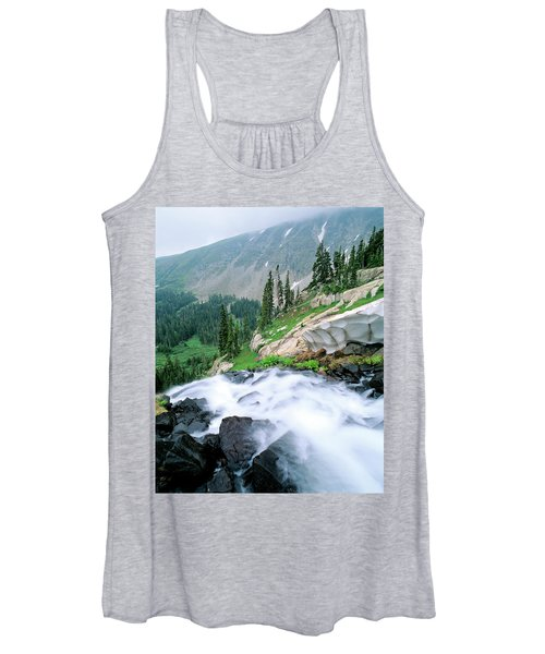 A Waterfall Flows Out Of Lake Isabelle Women's Tank Top
