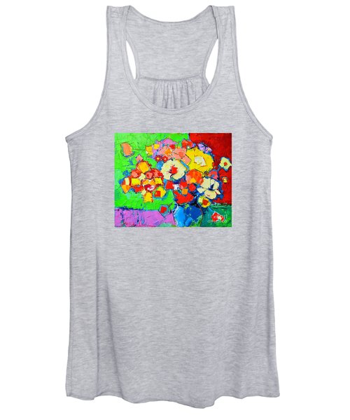 Abstract Colorful Flowers Women's Tank Top