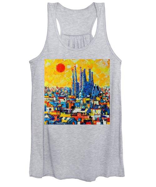 Abstract Sunset Over Sagrada Familia In Barcelona Women's Tank Top