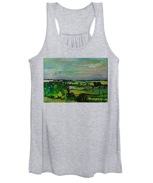 Across The Valley, Bedfordshire, 1973 Oil On Canvas Women's Tank Top