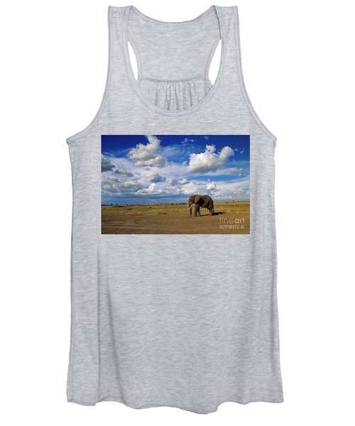 African Elephant Walking Masai Mara Women's Tank Top
