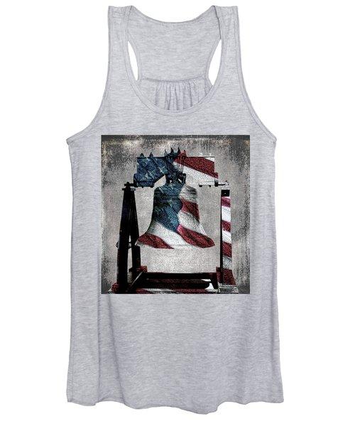 All American Liberty Bell Art_denim Women's Tank Top