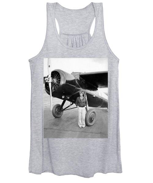 Amelia Earhart And Her Plane Women's Tank Top