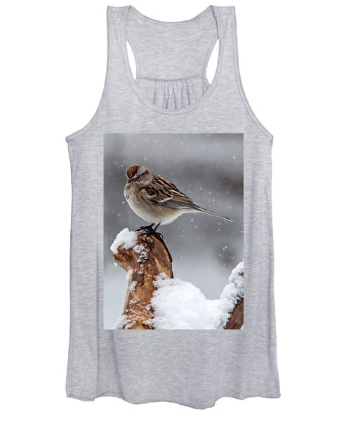 American Tree Sparrow In Snow Women's Tank Top