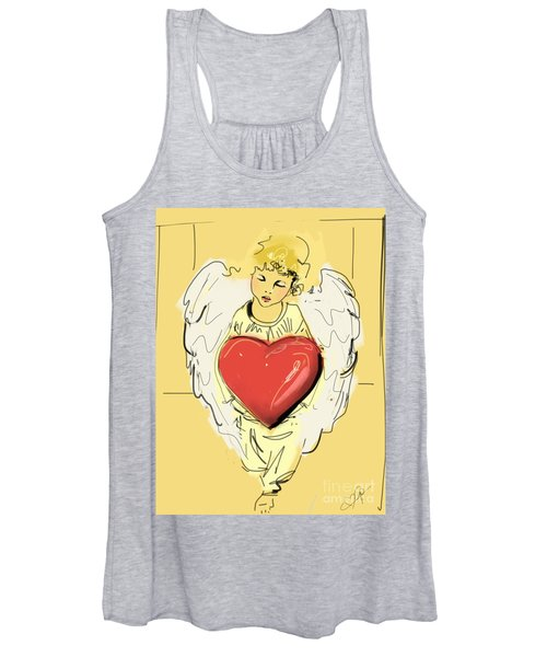 Angel Red Heart Women's Tank Top