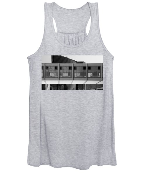 Architectural Pattern Glass Bridge Black White Women's Tank Top