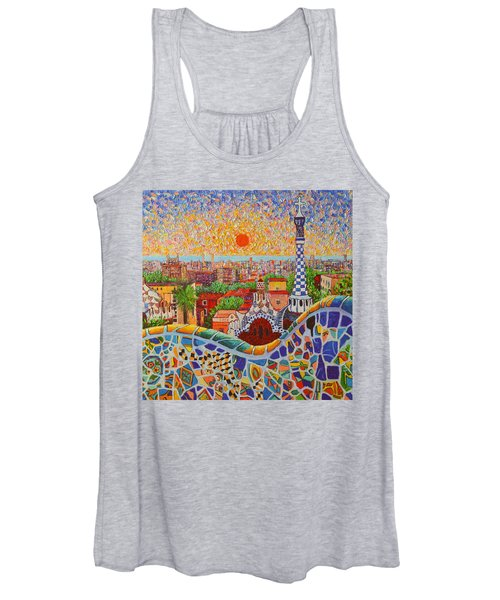 Barcelona Sunrise Light - View From Park Guell Of Gaudi - Square Format Women's Tank Top
