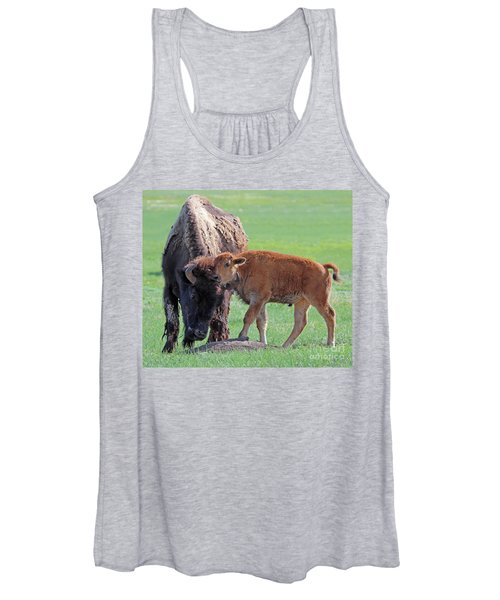 Bison With Young Calf Women's Tank Top