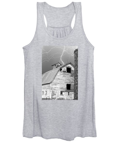 Black And White Old Barn Lightning Strikes Women's Tank Top