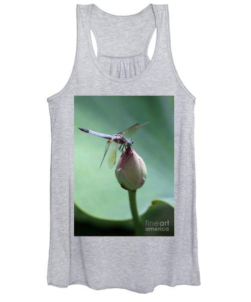 Blue Dragonflies Love Lotus Buds Women's Tank Top