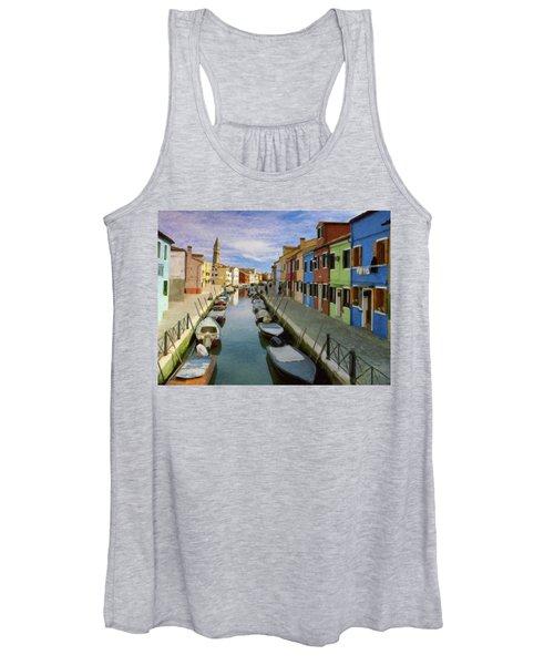 Canal Burano  Venice Italy  Women's Tank Top