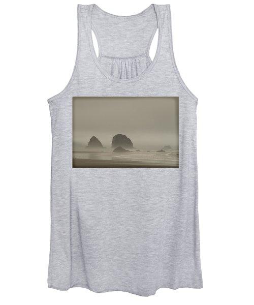 Cannon Beach In A Fog Oregon Women's Tank Top