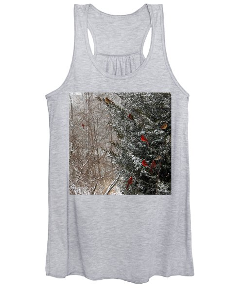 Cardinals In Winter 1 Square Women's Tank Top