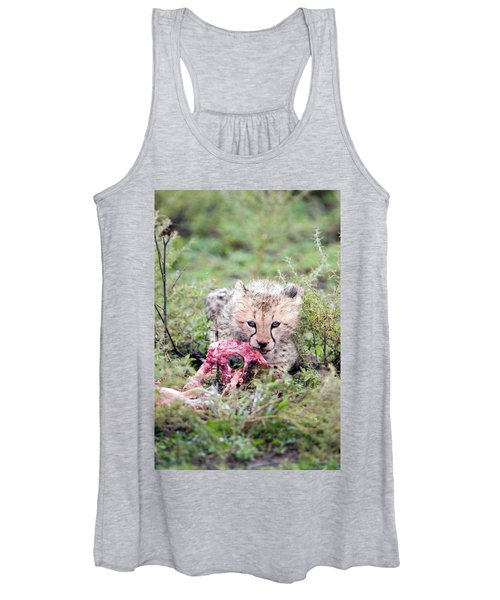 Cheetah Cub Acinonyx Jubatus Eating Women's Tank Top
