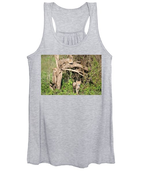 Cheetah Cubs Acinonyx Jubatus Climbing Women's Tank Top
