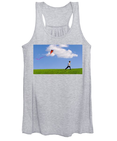 Child Flying A Kite Women's Tank Top