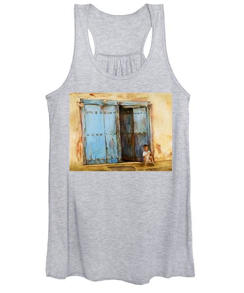 Child Sitting In Old Zanzibar Doorway Women's Tank Top