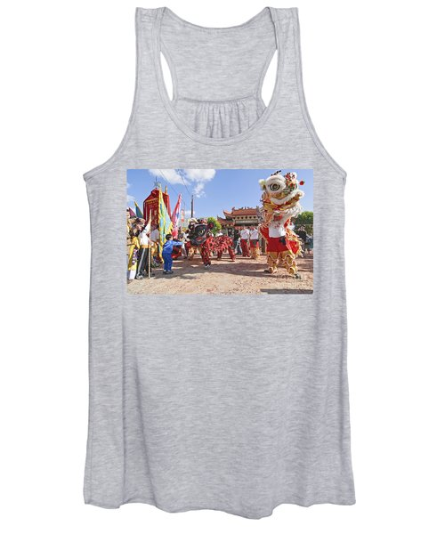 Chinese Lion Dancers During A Celebration. Women's Tank Top