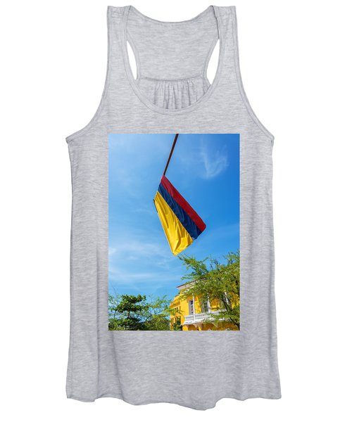Colombian Flag And Blue Sky Women's Tank Top