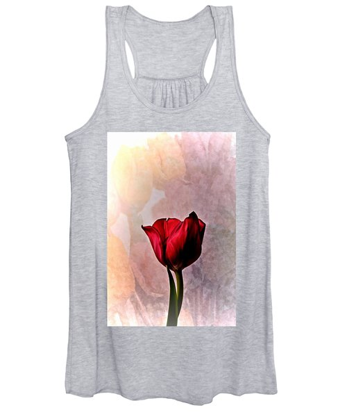 Deep Red Tulip On Pale Tulip Background Women's Tank Top