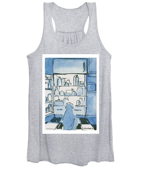 Dog In Front Of An Open Refrigerator Women's Tank Top
