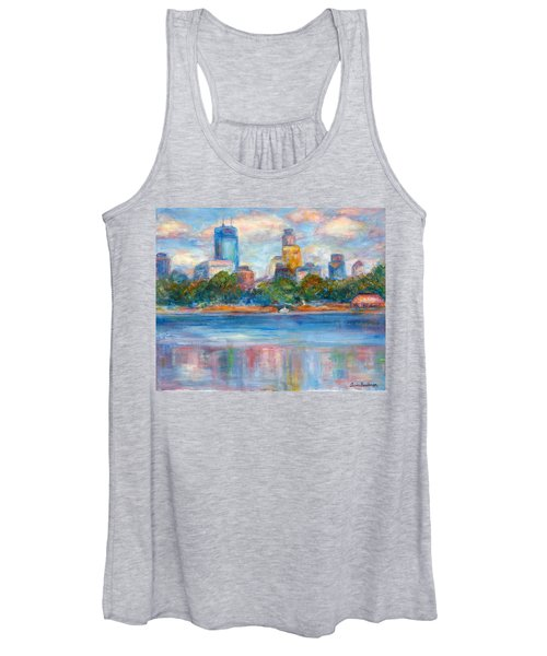 Downtown Minneapolis Skyline From Lake Calhoun II - Or Commission Your City Painting Women's Tank Top