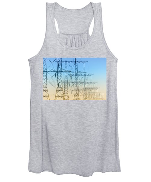 Electricity Pylons Standing In A Row Women's Tank Top