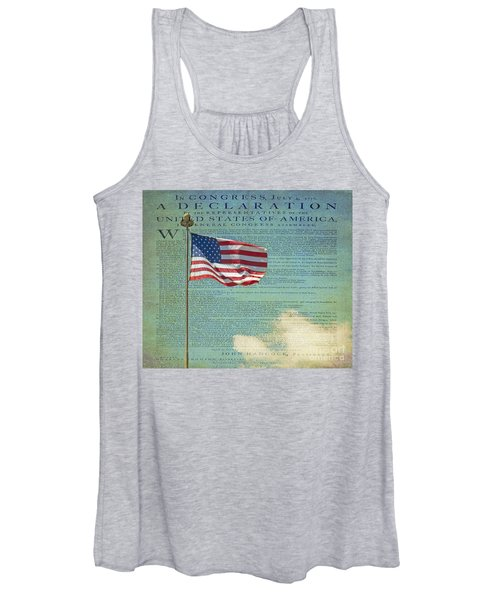 Flag - Declaration Of Independence -  Luther Fine Art Women's Tank Top