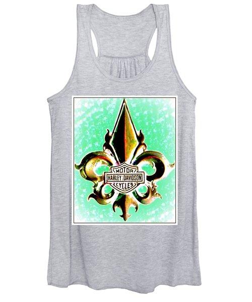 Fleurs De Lys And Harley Davidson Logo Bronze Green Women's Tank Top
