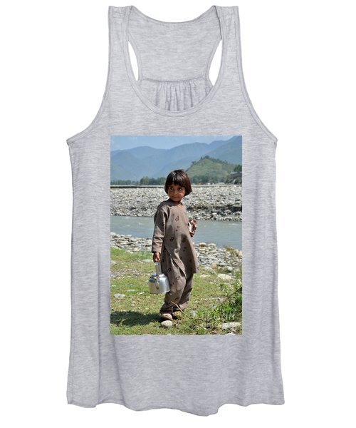 Girl Poses For Camera  Women's Tank Top