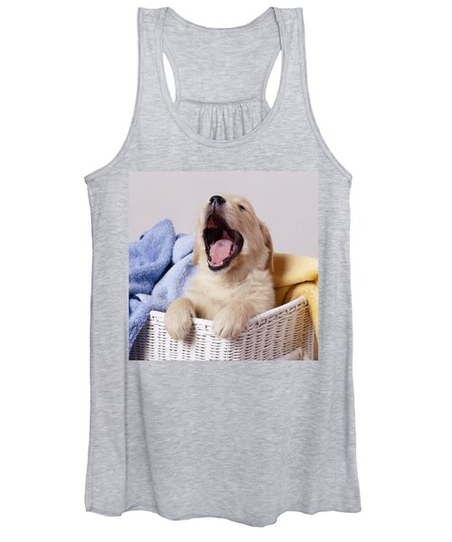 Golden Retriever Puppy Yawning Women's Tank Top