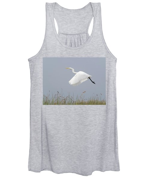 Great Egret Ardea Alba In Flight Women's Tank Top