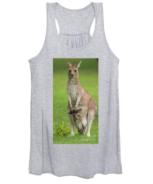 Grey Kangaroo And Joey  Women's Tank Top