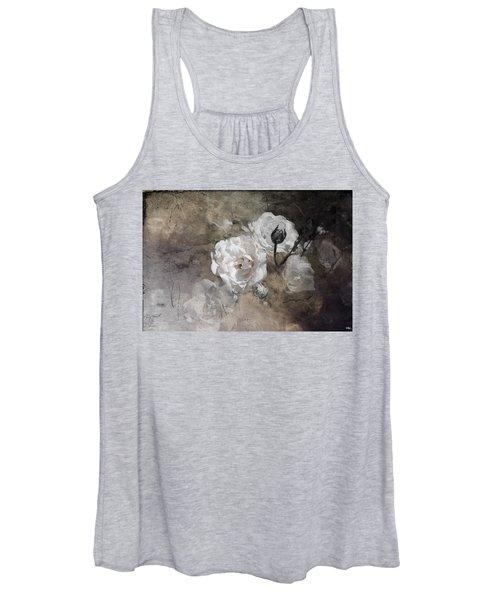 Grunge White Rose Women's Tank Top