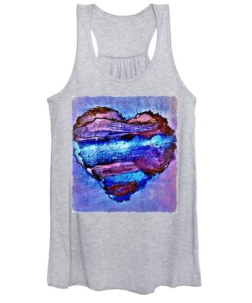 Heart Love Music Alcohol Inks  Women's Tank Top