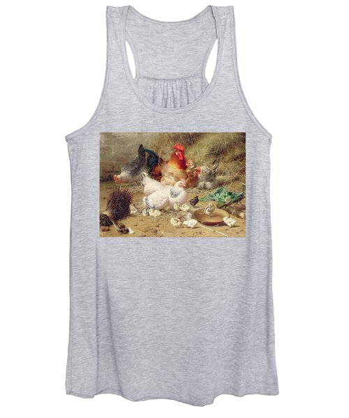 Hens Roosting With Their Chickens Women's Tank Top