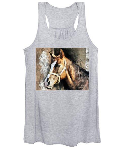 Horse Portrait - Drawing Women's Tank Top