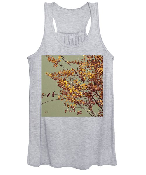 Hummingbirds On Yellow Tree Women's Tank Top
