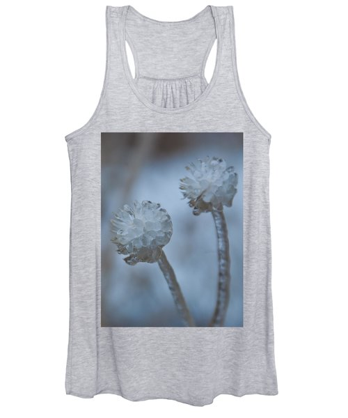 Ice-covered Winter Flowers With Blue Background Women's Tank Top