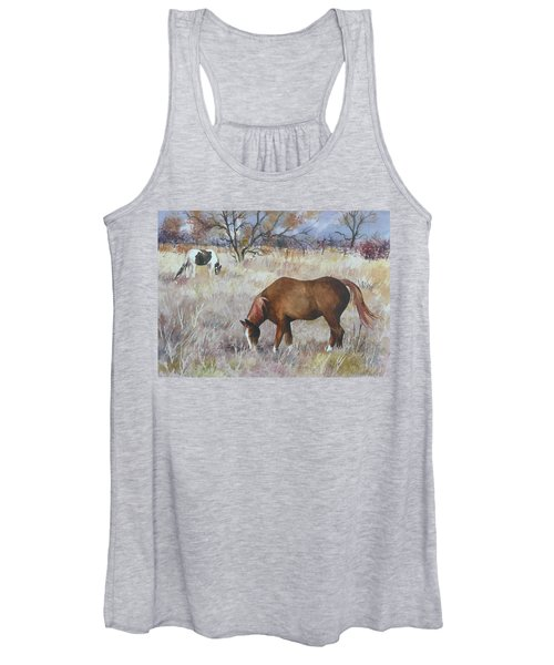 Jill's Horses On A November Day Women's Tank Top