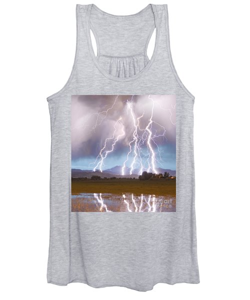 Lightning Striking Longs Peak Foothills 4c Women's Tank Top