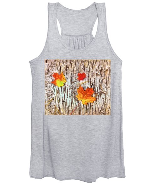 Maple Leaves On Bark Of Birch Tree Women's Tank Top