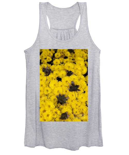 Maple Leaves On Chrysanthemum Women's Tank Top