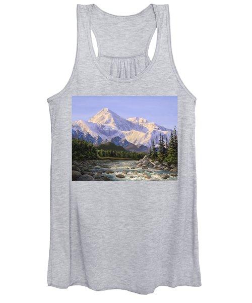 Majestic Denali Mountain Landscape - Alaska Painting - Mountains And River - Wilderness Decor Women's Tank Top