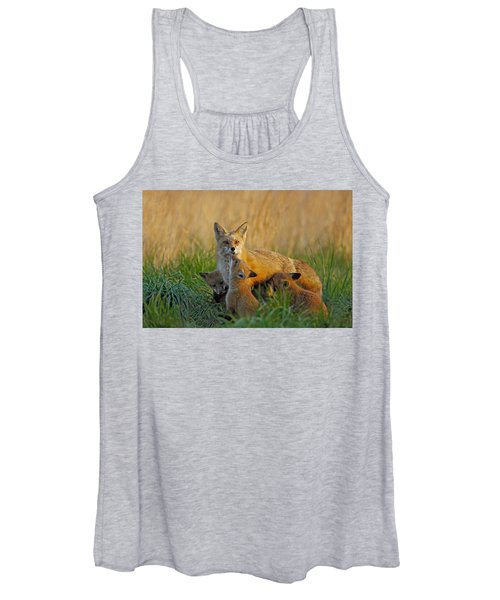 Mother Fox And Kits Women's Tank Top