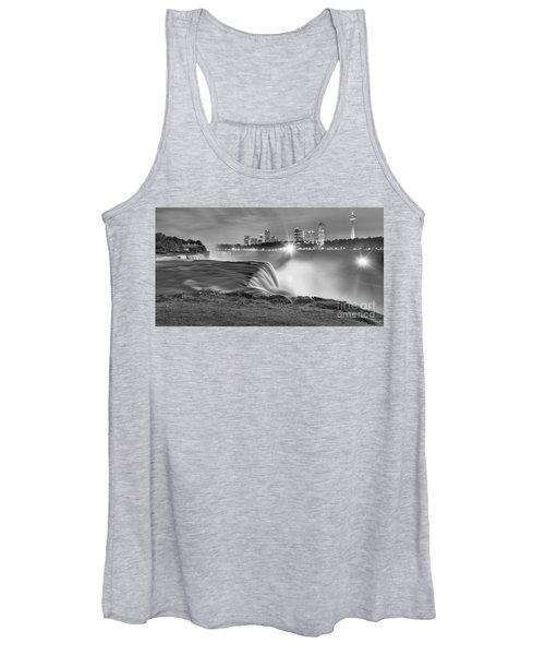Niagara Falls Black And White Starbursts Women's Tank Top