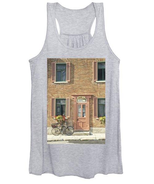 Old Downtown Building Doorway And Bike On Street Women's Tank Top