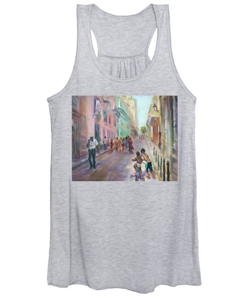 Old Havana Street Life - Sale - Large Scenic Cityscape Painting Women's Tank Top