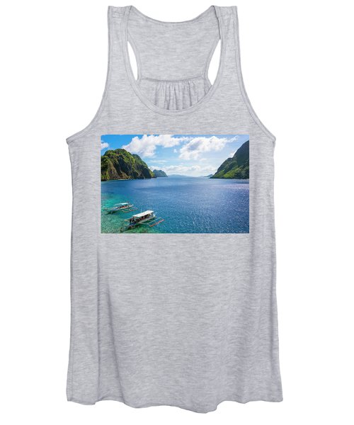 Outrigger Boats Anchored At Matinloc Women's Tank Top