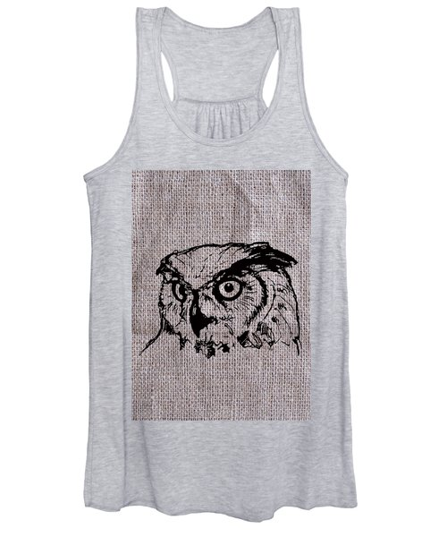 Owl On Burlap Women's Tank Top